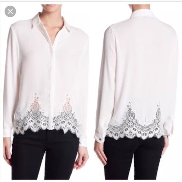 662bbd61cd The Kooples Tops   Lace Trim Button Down Shirt   Poshmark
